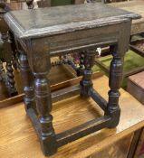 A 17th century oak joint stool (faults), width 43cm, depth 26cm, height 52cm