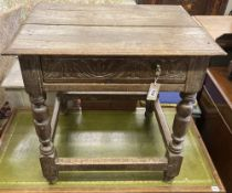A 17th/18th century carved oak side table, fitted drawer, width 70cm, depth 53cm, height 67cm