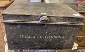 A Victorian painted tin trunk marked Braemoor Gardens, width 53cm