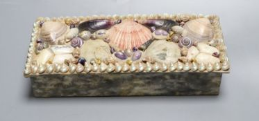 A French shell encrusted box, c.1920, width 23cm