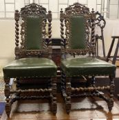 A pair of Victorian carved oak Carolean style side chairs