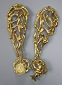 A pair of 18ct yellow modernist earrings of openwork 'branch' design, with screw-back fittings and