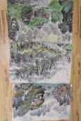 North Korean School, modern, three watercolours on paper, 43.5 x 65cm