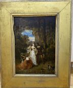 19th century English School, oil on wooden panel, Medieval figures in woodland, 33 x 23cm