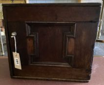 An 18th century and later oak spice cabinet, width 33cm, depth 22cm, height 30cm