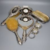 A George V silver and tortoiseshell pique mounted timepiece, S.W. Goode & Co, Chester, 1920, 10cm