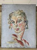 Thadee Kopczynski (1903-1990), oil on canvas, Portrait of the artist's wife Antonia de la Gandra (