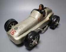 A composition model of a 1930's Mercedes Grand Prix racer, length 38cm