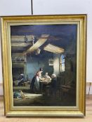 Nicholas Condy (1793-1857), oil on panel, Tavern interior with maid serving at a table, signed, 43 x