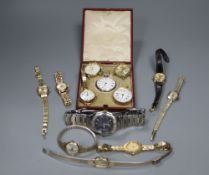 A 14k fob watch, a 9ct wrist watch, a Swiss silver fob watch and other assorted wrist watches.