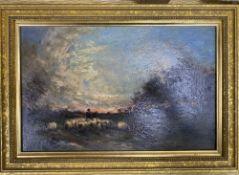 English School c.1900, oil on mahogany panel, Shepherd and flock at sunset, indistinctly signed,