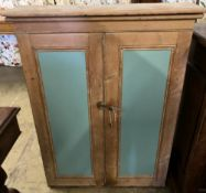 A Victorian painted pine cabinet, width 90cm, depth 27cm, height 110cm