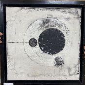 "Michael Woods, oil on canvas, ""Self Orbit"" 2008, label verso, 40 x 40cm"