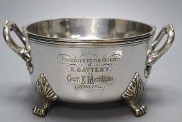A Victorian Royal Horse Artillery silver plated presentation sauce tureen, circular, two-handled, '
