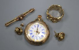 A 9k fob watch, a 9ct gold modernist ring, a 9ct bar brooch and a pair of 9ct gold knot earrings,
