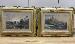 Victorian School, pair of watercolours, View of Parkland and Study of a gardener in the grounds of a