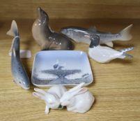 Five Royal Copenhagen figures, Sealion, Salmon (x 2), Tern and Rabbits and a Bing & Grondahl 'stork'