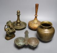 A group of indian bronze vessels, a figure of Ganesh, a Kashmiri polychrome wood vase, 24cm high