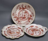 """A Coalport """"Indian Tree Coral"""" bowl and two matching dessert dishes in iron-red and gilt, bowl 26cm"""