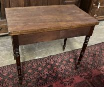 A Regency mahogany rectangular folding tea table, width 84cm depth 50cm height 73cm