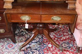 A 19th century mahogany and oak sofa table, width 86cm, depth 66cm, height 74cm