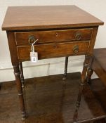 A Regency mahogany two drawer work table, fitted two small drawers, width 48cm, depth 40cm, height