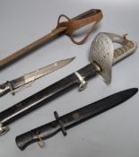 An Edward VII officer's dress sword, 103cm (repainted) a 19th century Continental sabre sword and