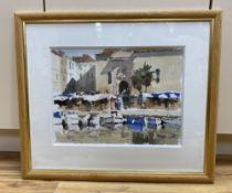 John Yardley (1933-), watercolour, Mediterranean harbour scene, signed, 30 x 40cm
