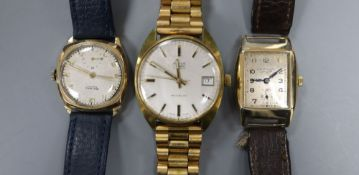 Two gentleman's 9ct gold manual wind wrist watches, Rotary & J.W. Benson and one other watch.