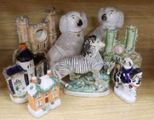 Eight pieces of Staffordshire pottery, dogs 25cm