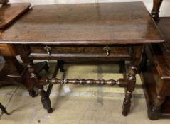 A late 17th century oak side table, fitted with a single drawer, width 88cm, depth 55cm, height