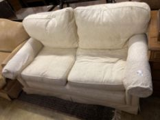 A contemporary cream brocade upholstered two seater settee, width 170cm depth 92cm height 86cm