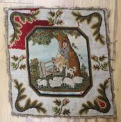 A Victorian petit point panel depicting a farmer and sheep, 41 x 40cm