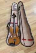 An English violin, labelled 'WR The Victory 1889', with medium curl to the back, sides and neck,
