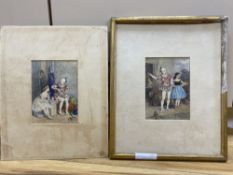 Charles Green (1840-1898), pair of watercolours, Circus Performers preparing to go on stage,
