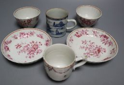 18th century Chinese export porcelain to include a pair of tea bowls and saucers and two coffee