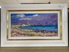 Jeffrey Pratt (1940-), oil on board, 'Towards Penzance', signed, 22 x 44cm