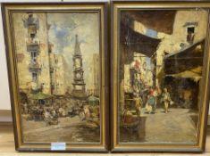 Piami, pair of oils, Neapolitan street scenes, signed, 45 x 27cm