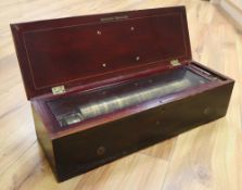 A 19th century Swiss rosewood cylinder music box, single-piece steel comb stamped LF