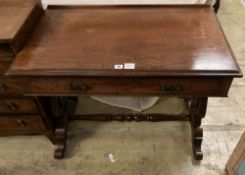 A Victorian mahogany side table, width 92cm, depth 55cm, height 72cm