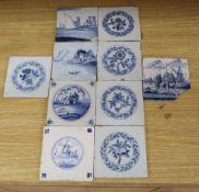 A group of ten 18th / 19th century Dutch Delft tiles, each 12.5cm square