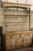 A Victorian pine dresser, width 160cm, depth 44cm, height 250cm