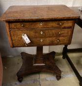 An early 19th century pollard oak work table, width 56cm, depth 40cm, height 74cm