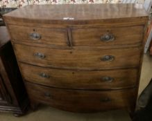 A Regency mahogany bowfront chest, width 114cm, depth 52cm, height 110cm