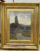 Nathaniel Hughes John Baird (1865-1936), watercolour, Figures passing houses at sunset, monogrammed,