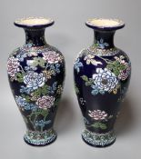 A pair of Japanese Satsuma moriage blue ground vases, early 20th century, height 26cm