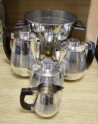 A French silver plate four piece teaset, and a near matching ice bucket, height 19cm