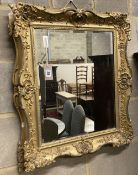 A Victorian gilt gesso wall mirror, 58 x 70cm
