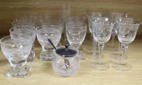 A collection of cut and moulded drinking glassware, including seven slab based rummers