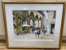 John Yardley (1933-), watercolour, Figures beside an Italian market place, signed, 36 x 50cm